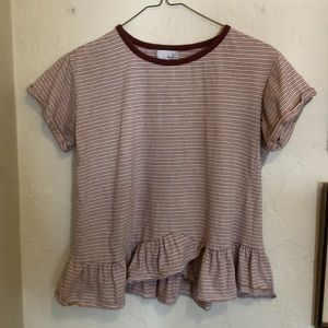 Ten sixty Sherman terra cotta striped ruffle tee